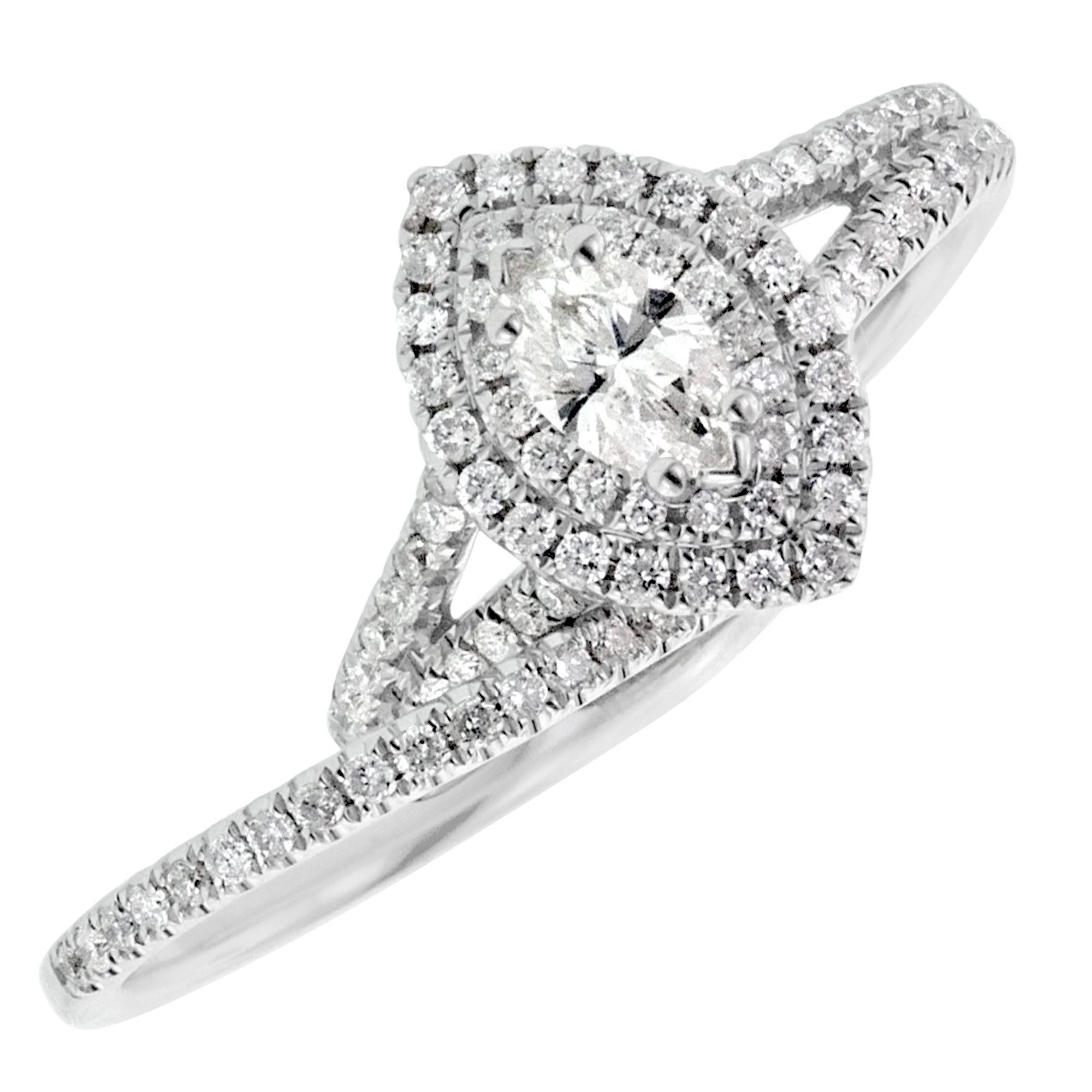 Marquise Diamond Halo Engagement Ring With Matching Wedding Band For Marquis Wedding Bands (View 9 of 15)