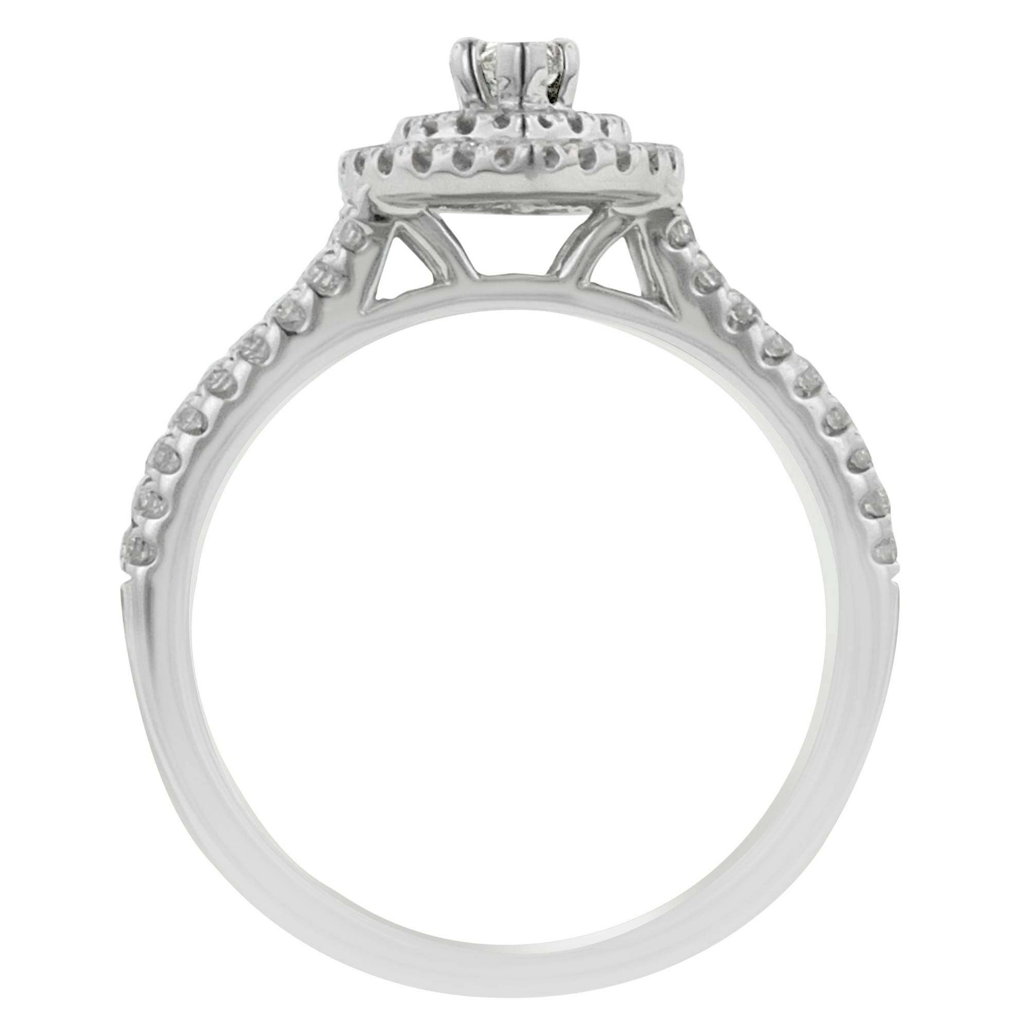 Marquise Diamond Halo Engagement Ring With Matching Wedding Band Throughout Marquis Wedding Bands (View 7 of 15)