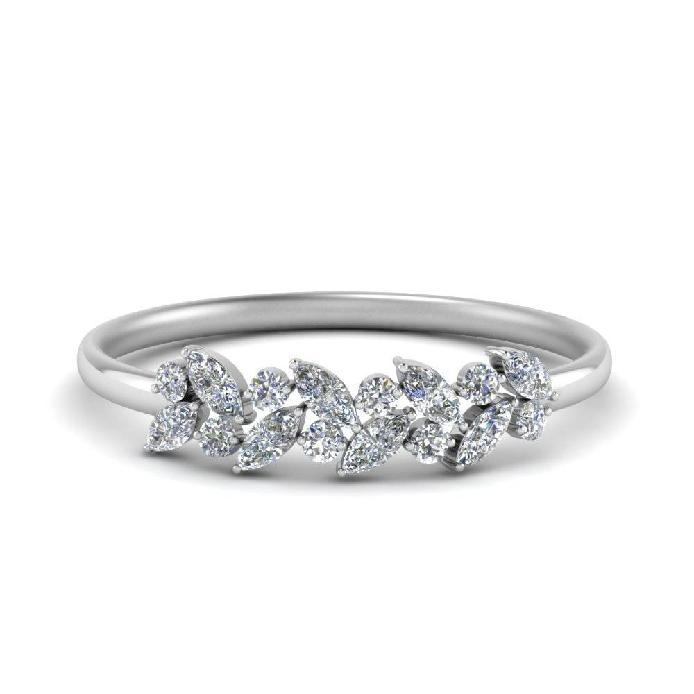 Marquise Nature Inspired Wedding Ring In 14K White Gold In Marquis Wedding Bands (View 11 of 15)