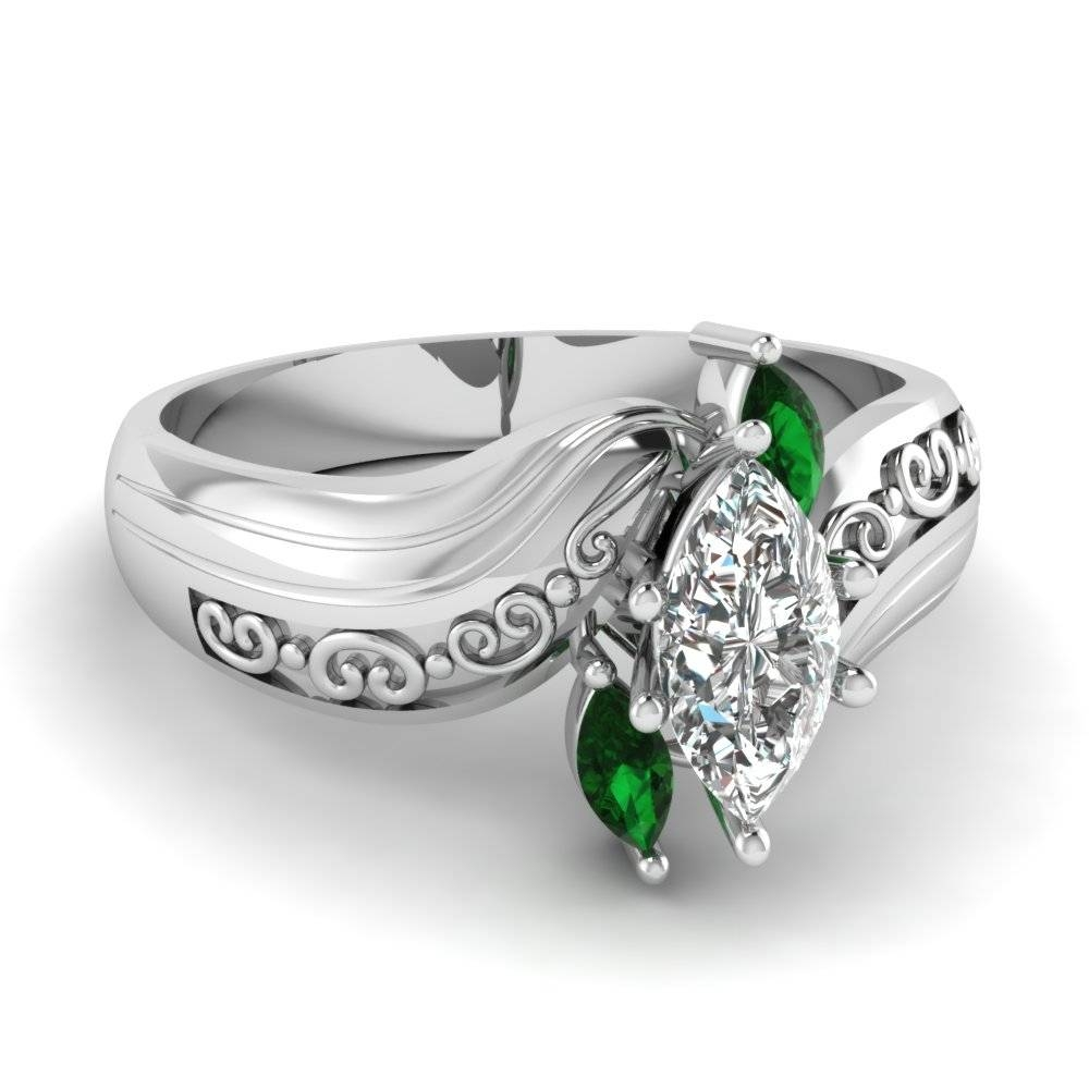 Marquise Three Diamond Engagement Ring With Emerald In 14K White Regarding Emerald And Diamond Wedding Rings (Gallery 1 of 15)