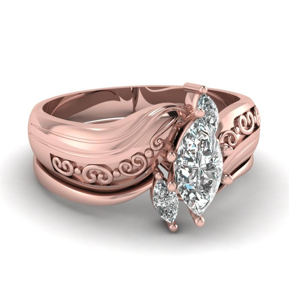Marquise Three Diamond Engagement Wedding Ring Set In 14K Rose Intended For Engagement Wedding Rings Sets (Gallery 13 of 15)