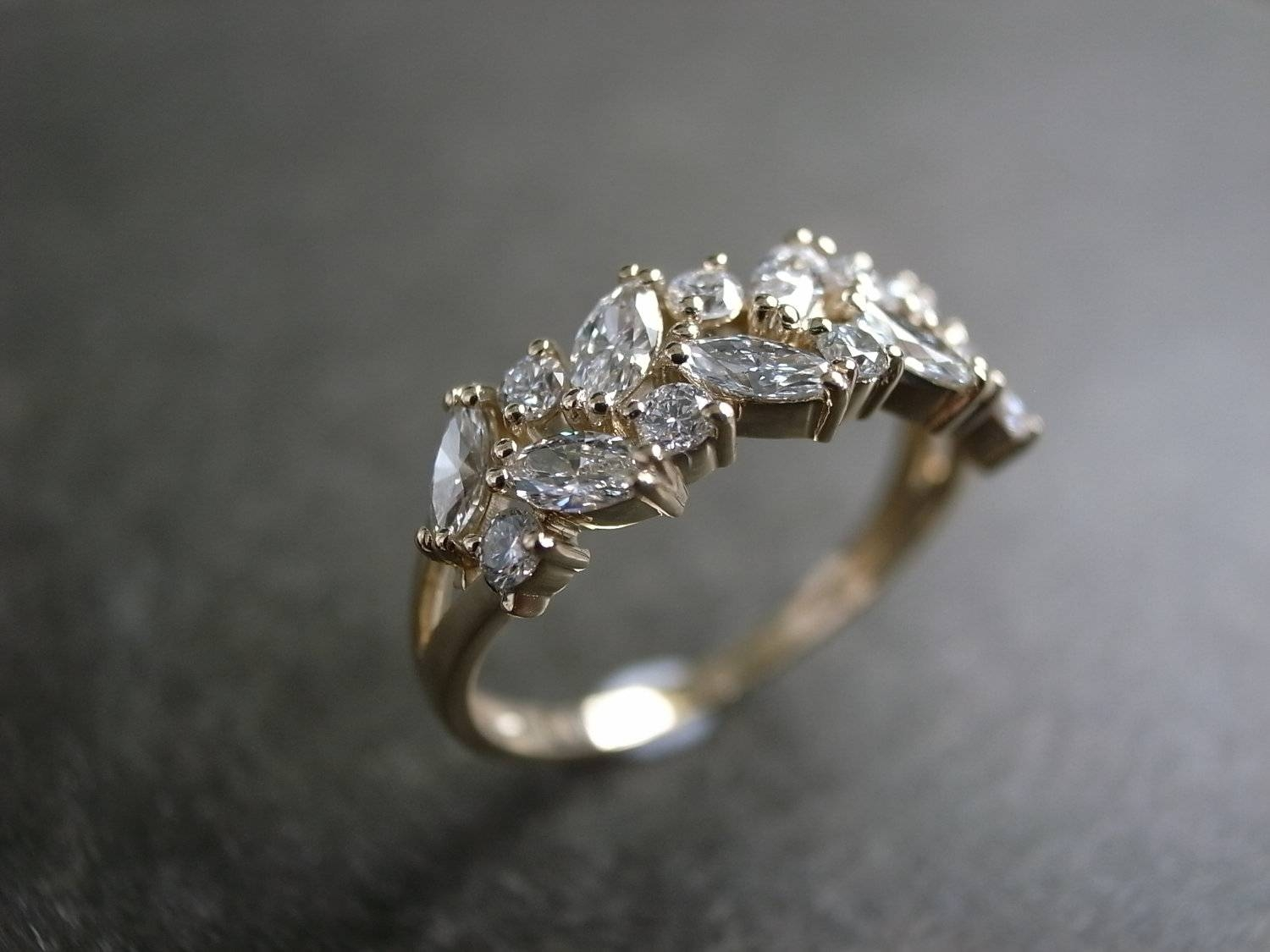 Marquise Wedding Ring / Engagement Ring / Diamond Ring / Intended For Marquis Wedding Bands (View 1 of 15)