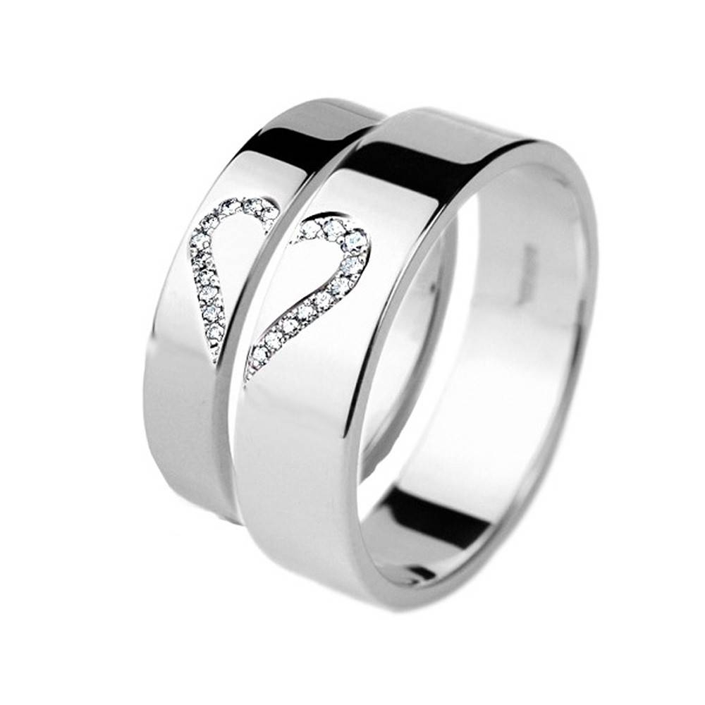 Matching 9Ct White Gold Wedding Rings His And Hers Diamond Set Within Titanium Wedding Bands Sets His Hers (View 8 of 15)