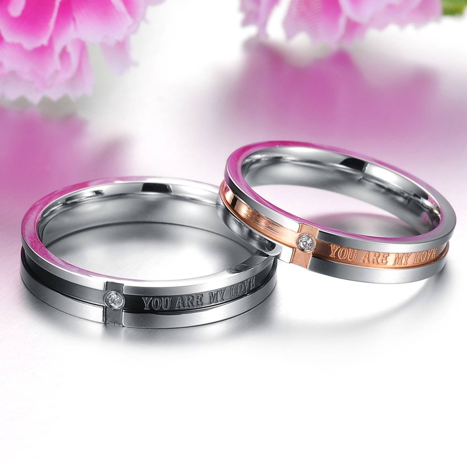 Matching Couple Titanium Steel Engagement Promise Ring Wedding Pertaining To Male And Female Matching Engagement Rings (View 12 of 15)