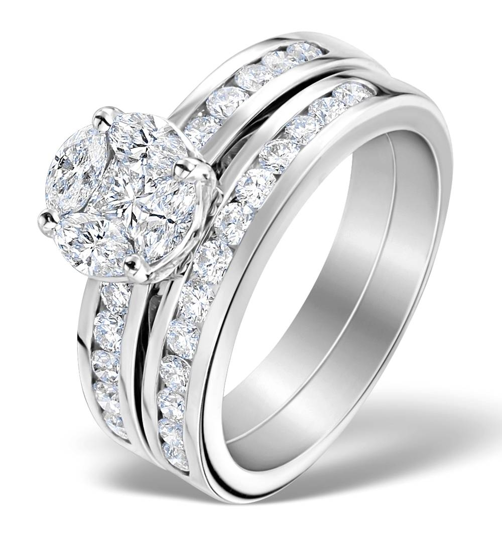 Matching Diamond Engagement And Wedding Ring  (View 7 of 15)