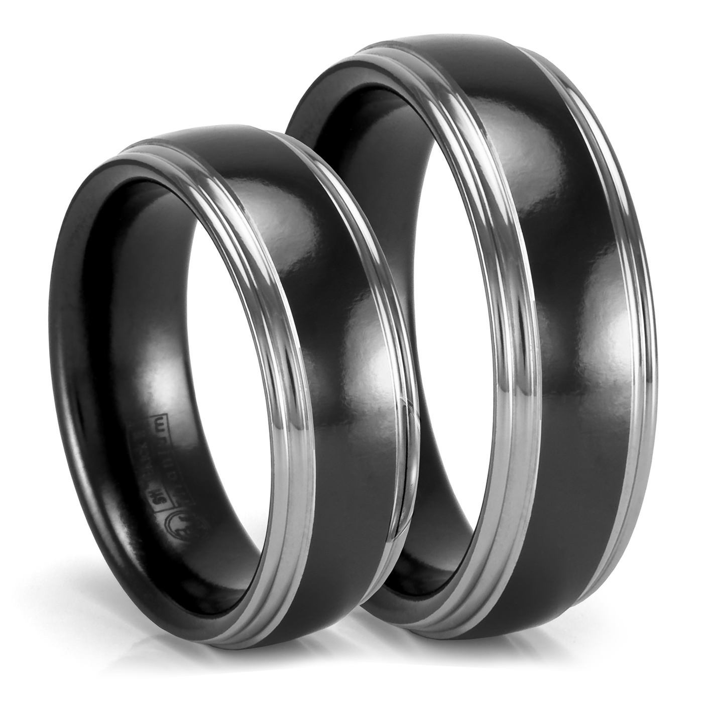 Matching Grey & Black Zirconium Wedding Bands – Wedding Set For Black Titanium Wedding Bands Sets (View 10 of 15)