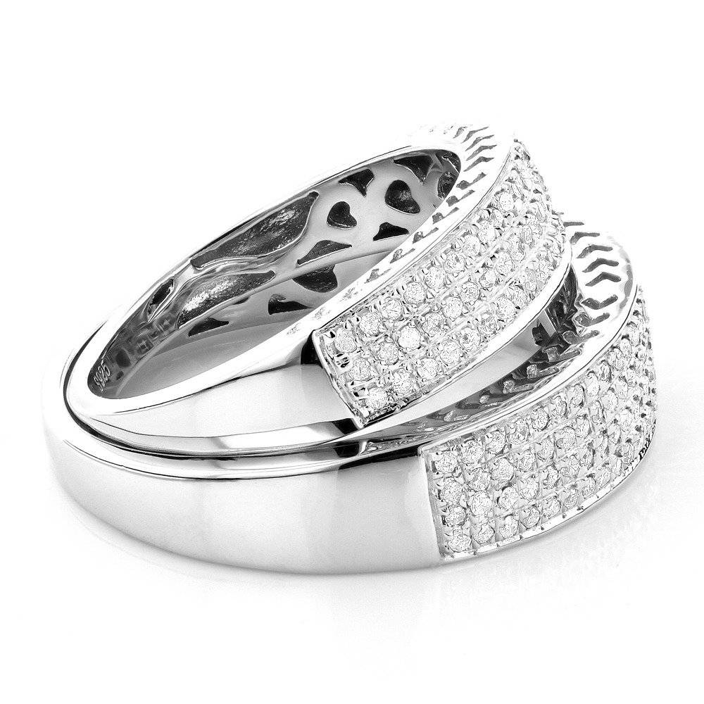 Matching His And Hers Wedding Band Set In Sterling Silver Regarding Matching Wedding Bands Sets For His And Her (View 11 of 15)