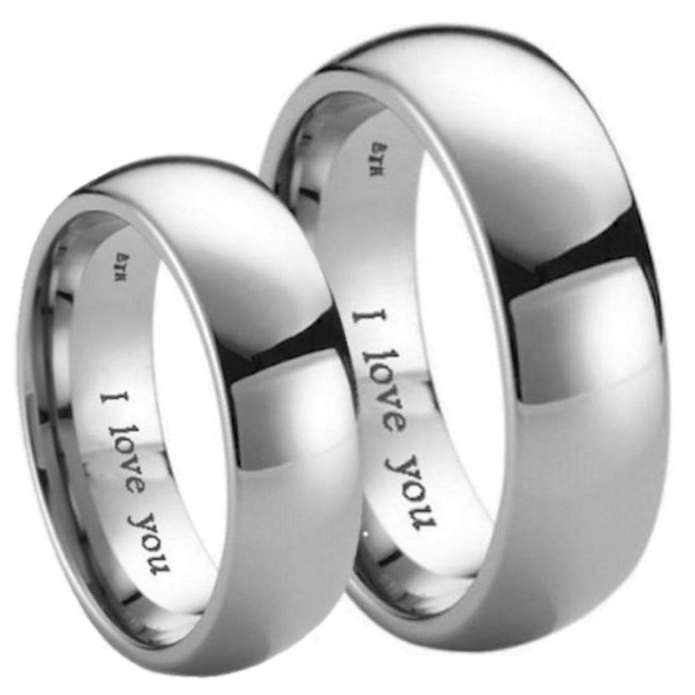 Matching His Hers I Love You Engraved Titanium Wedding Band Set With Regard To Titanium Wedding Bands Sets His Hers (View 9 of 15)
