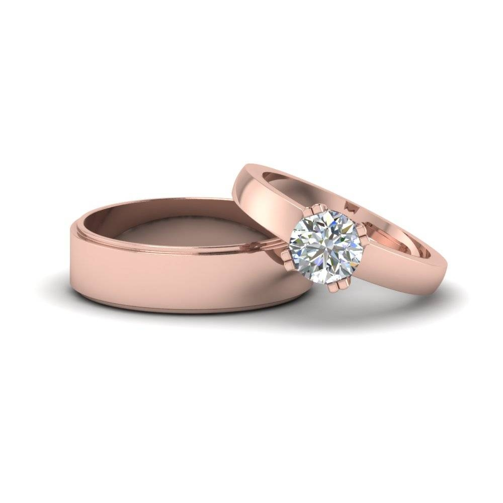 Featured Photo of Couple Rose Gold Wedding Bands