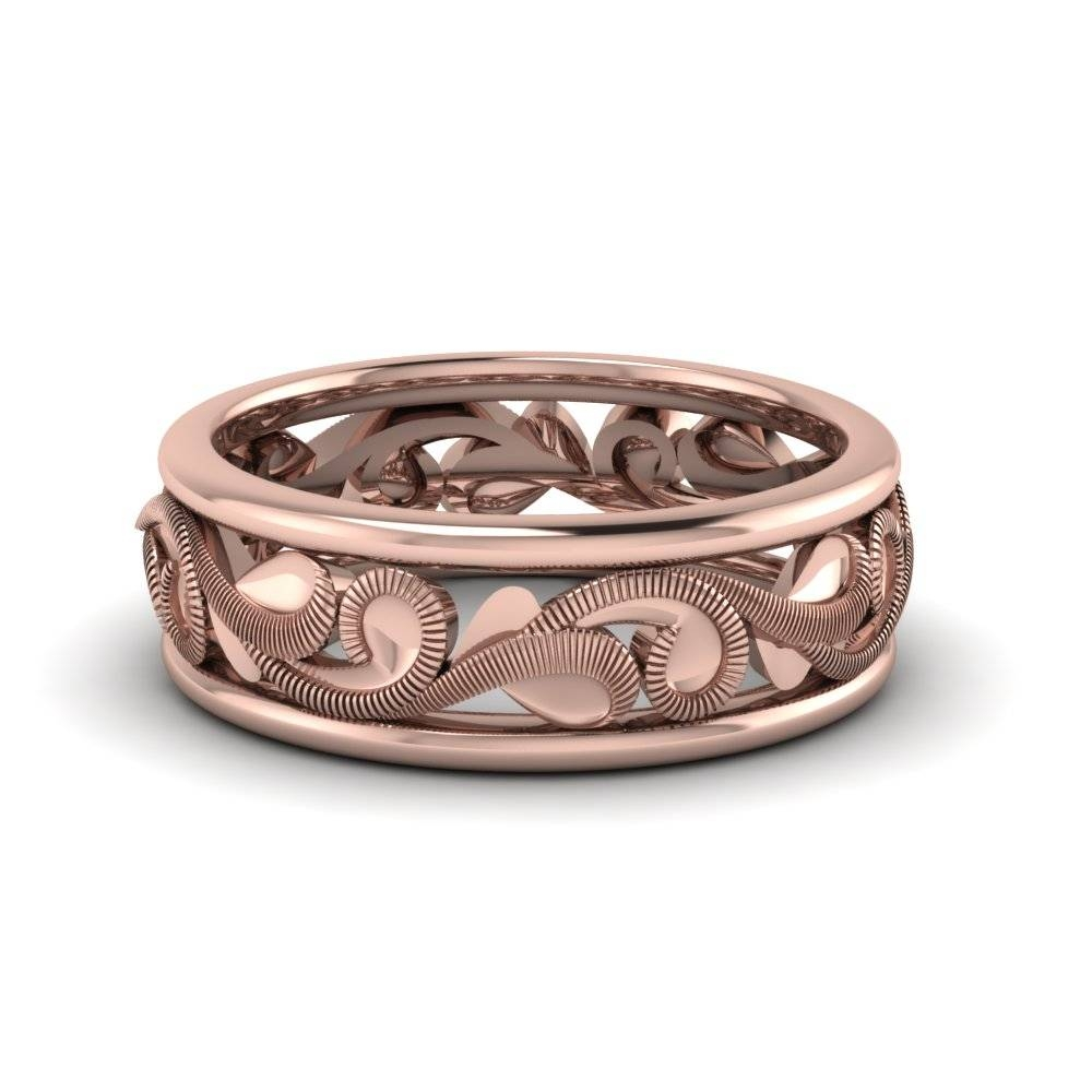 Matte Dome Wedding Band For Her 4Mm In 14K Rose Gold | Fascinating For Rose Gold Men's Wedding Bands With Diamonds (Gallery 159 of 339)