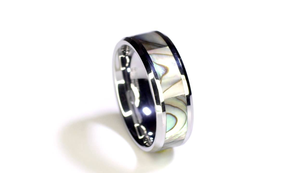 Maui Tungsten Wedding Band With Mother Of Pearl Inlay – 4Mm – 10Mm Intended For Mother Of Pearl Wedding Bands (View 4 of 15)