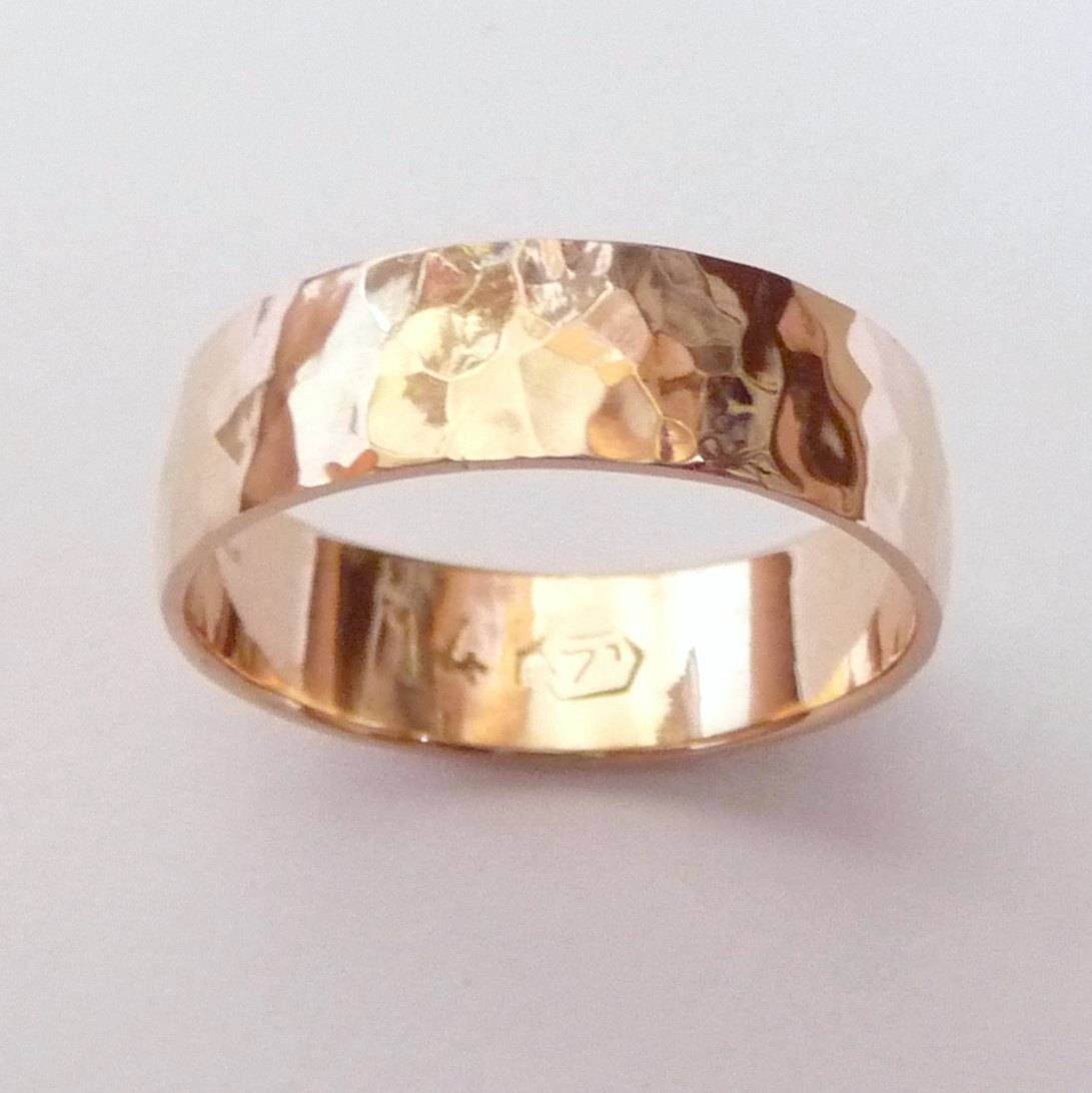 Men Rose Gold Wedding Band Hammered Wedding Ring 6Mm Wide Ring Regarding Rose Gold Male Wedding Bands (View 2 of 15)