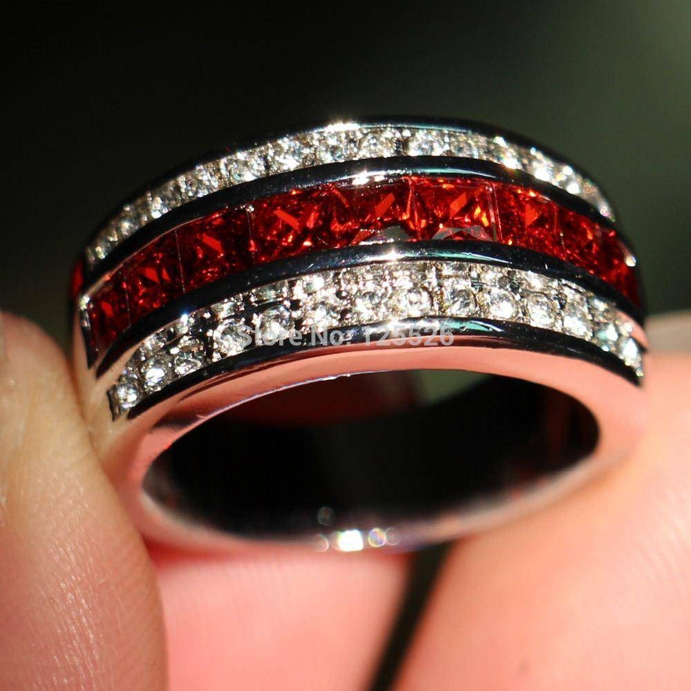 Men S Garnet And Diamond Rings Wedding Promise With Regard To