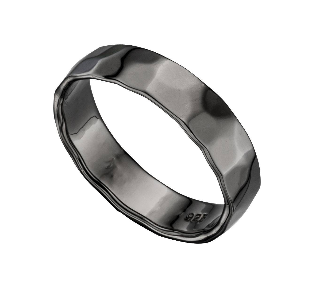 Men S Real Hematite Hammered Wedding Band Ring Sizes N – Z Available In Hematite Wedding Bands (View 6 of 15)