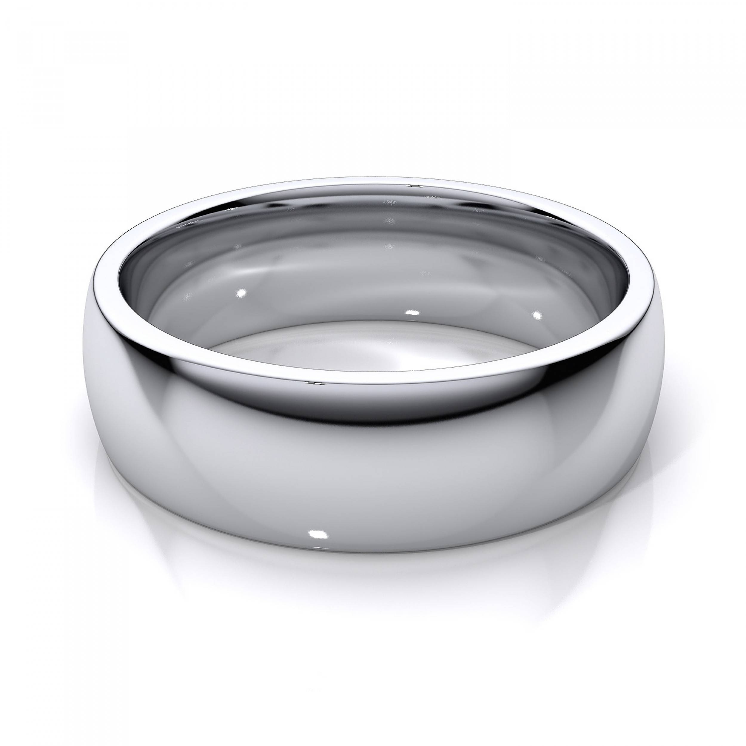 Men's 14K White Gold Plain Wedding Band Within White Gold Male Wedding Bands (View 10 of 15)