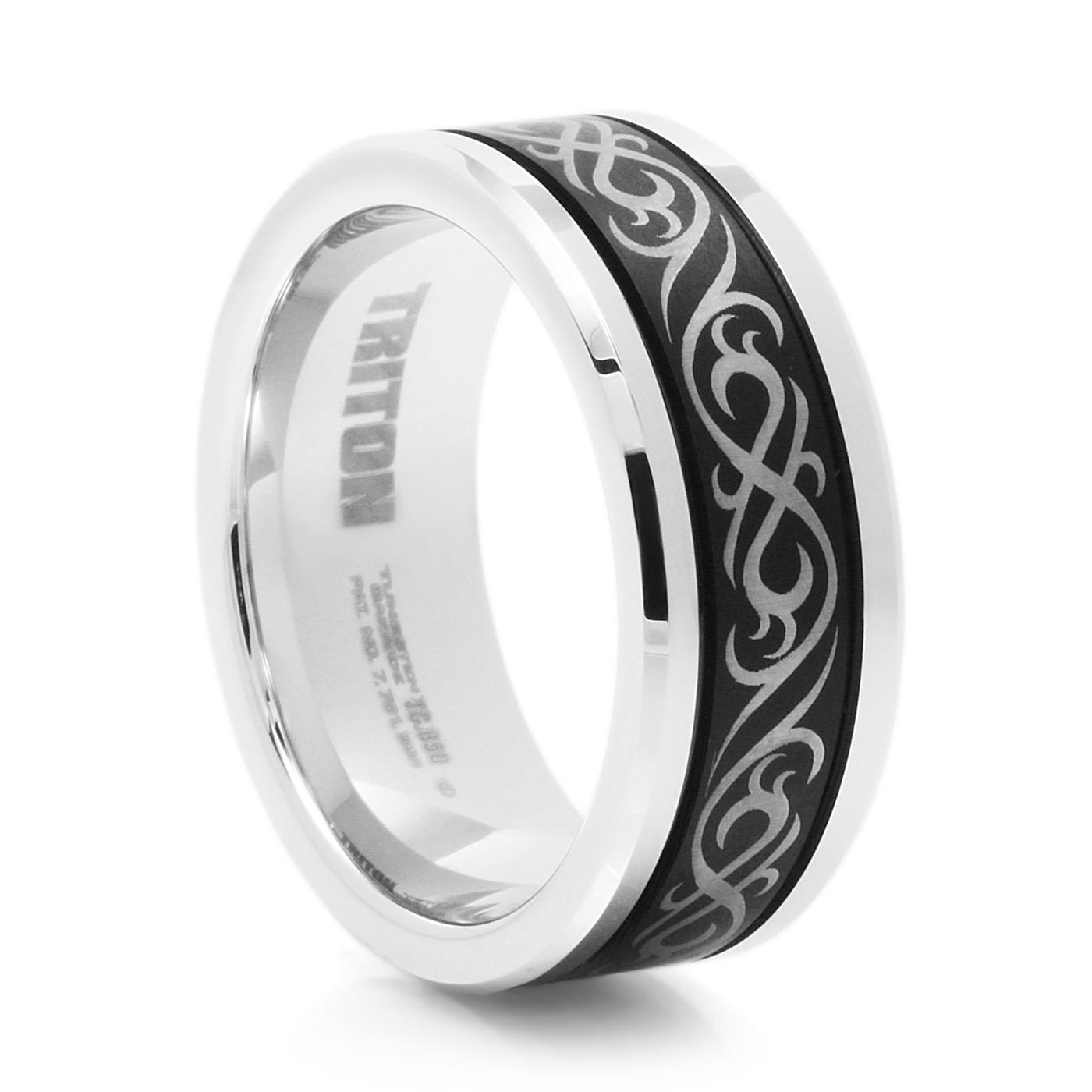Men's 9 Mm Tribal Design Black Tungsten Ringtriton Regarding Tribal Engagement Rings (View 7 of 15)