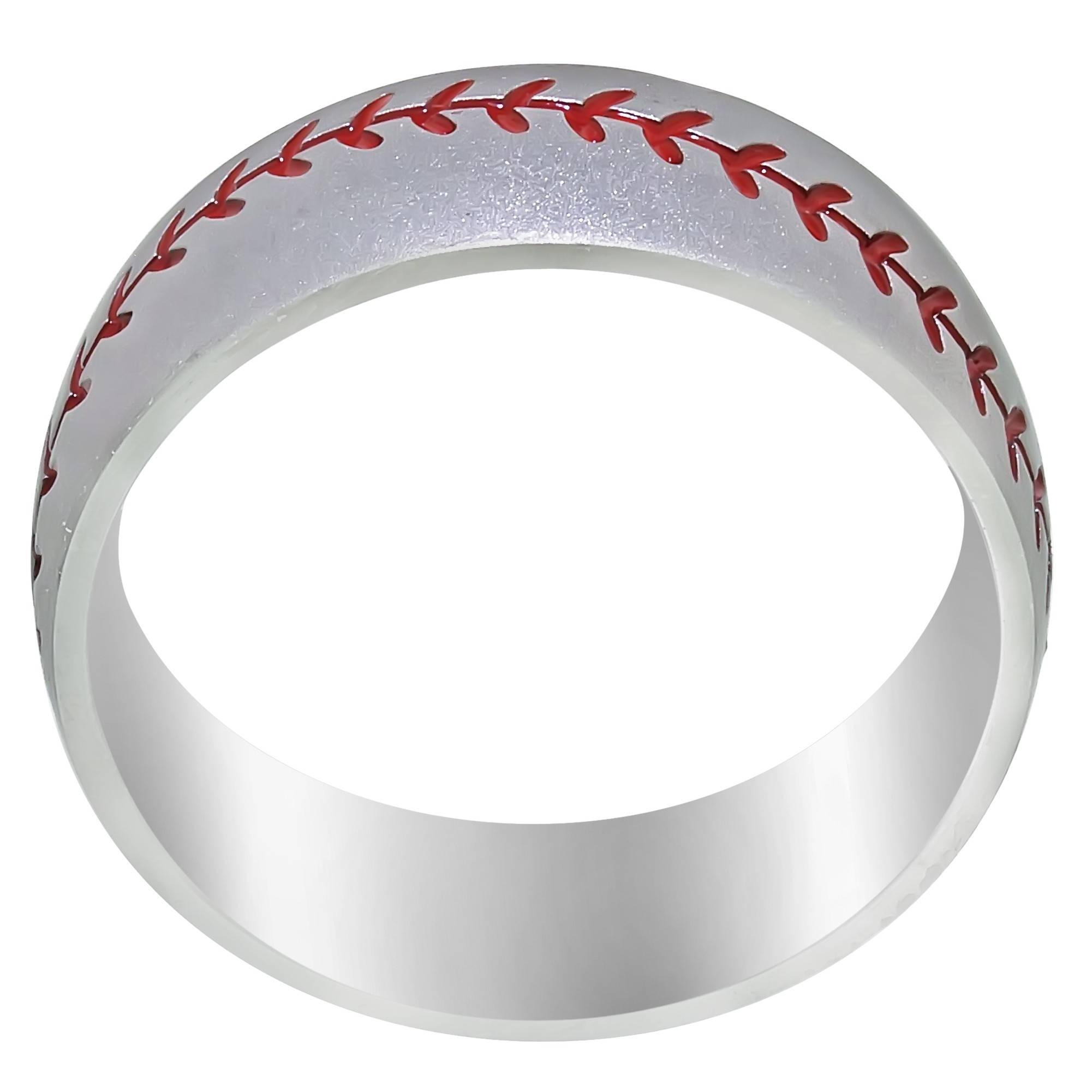 Mens Baseball Wedding Band In Cobalt Chrome (8Mm) Intended For Mens Baseball Wedding Bands (View 6 of 15)