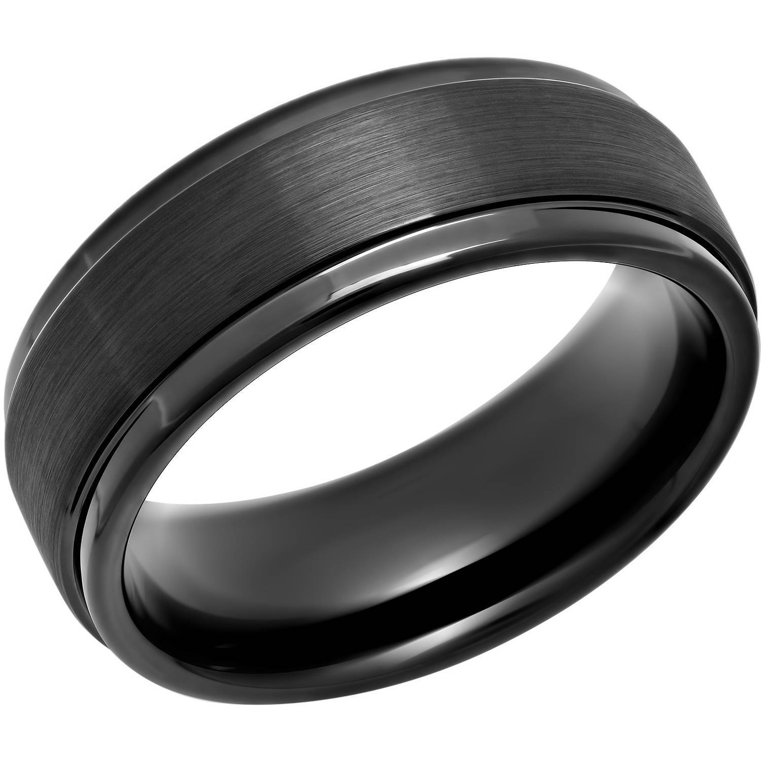 Men's Black Ip Tungsten 8Mm Step Edge Comfort Fit Wedding Band Inside Tungsten Wedding Bands (Gallery 11 of 15)