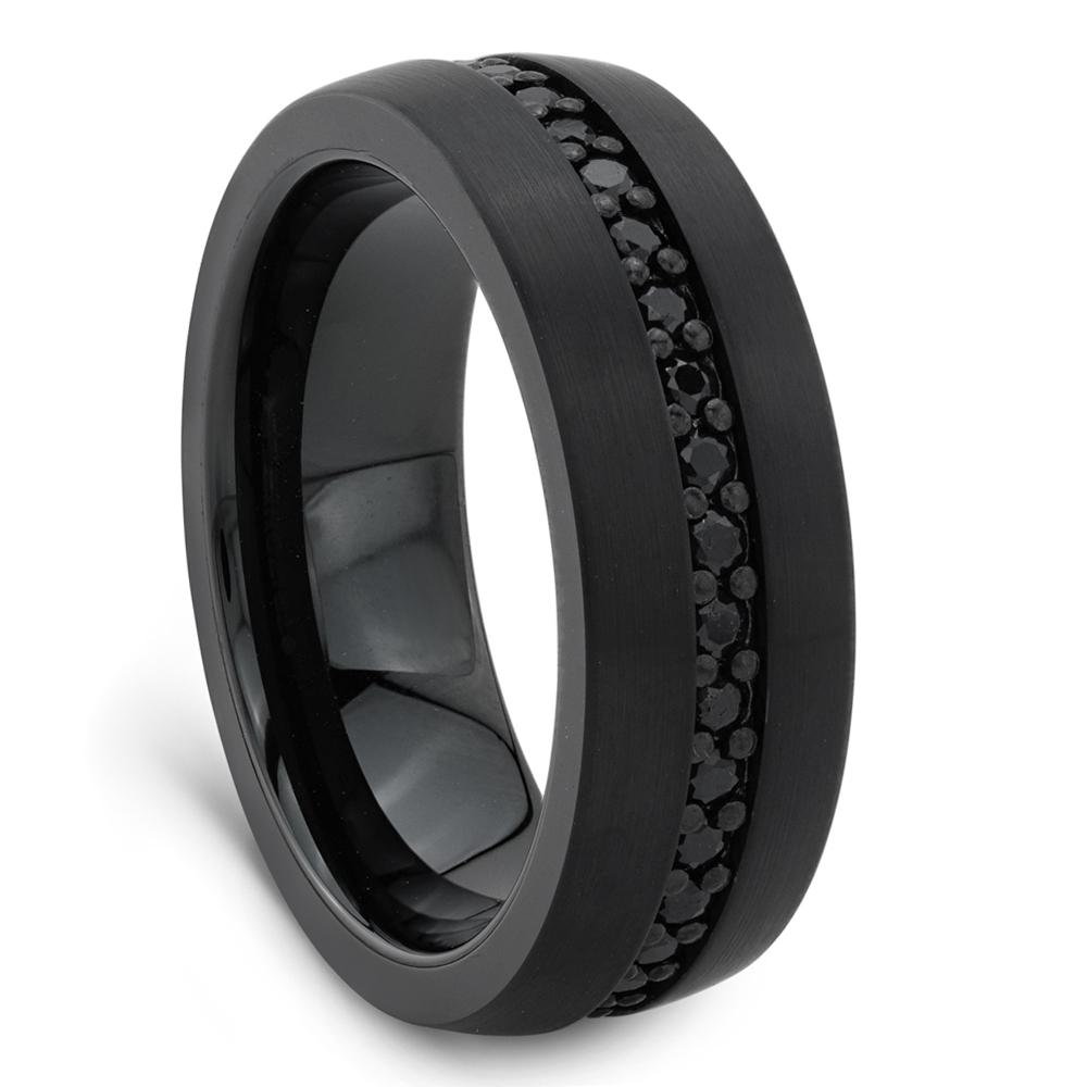 Men's Black Sapphire & Black Tungsten Ringtriton Intended For Tungsten Wedding Bands (Gallery 180 of 339)