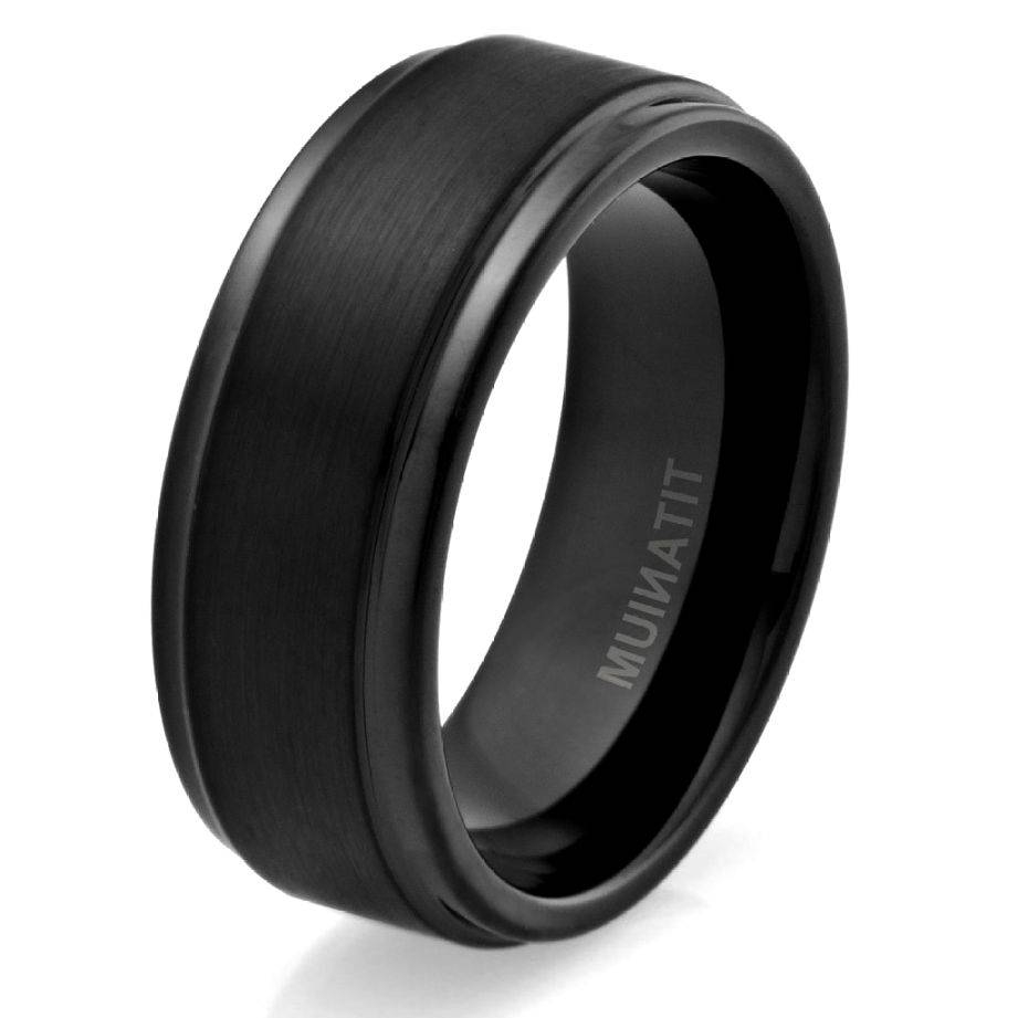 Mens Black Titanium Wedding Rings | Wedding, Promise, Diamond In Titanium Mens Wedding Bands (View 6 of 15)