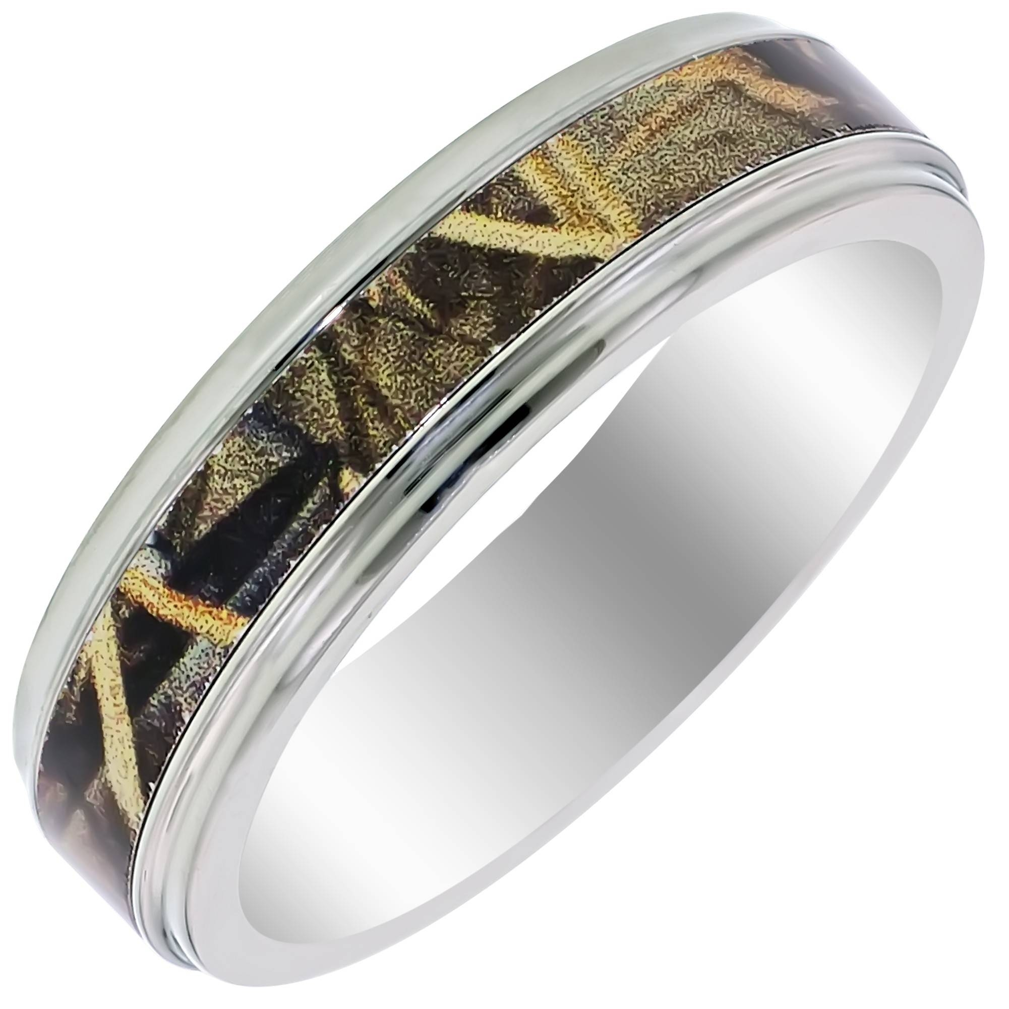 Mens Camouflage Wedding Band In Titanium (6Mm) With Regard To Men's Wedding Bands At Walmart (View 7 of 15)
