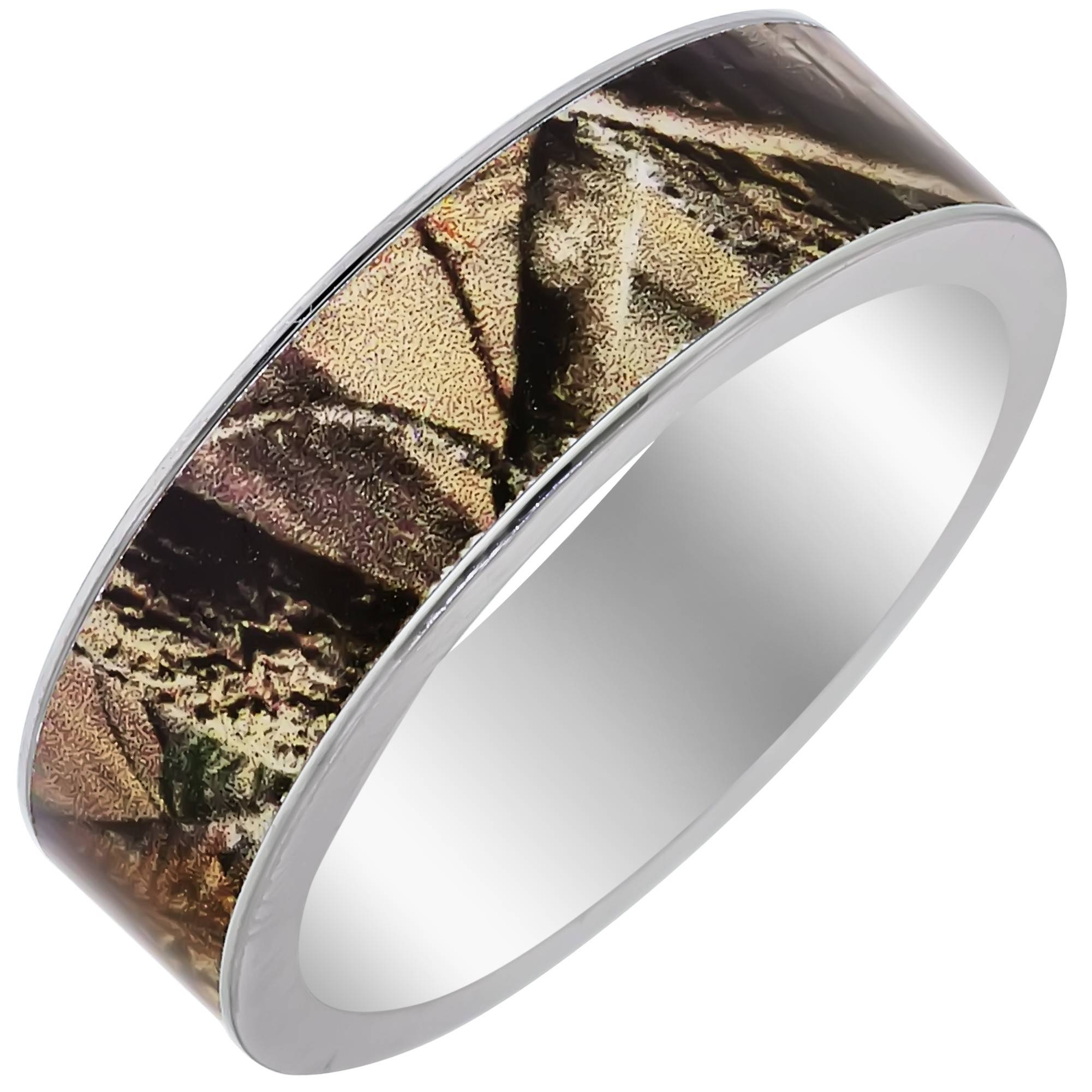 Mens Camouflage Wedding Band In Titanium (7Mm) Intended For Camo Wedding Bands (Gallery 1 of 15)