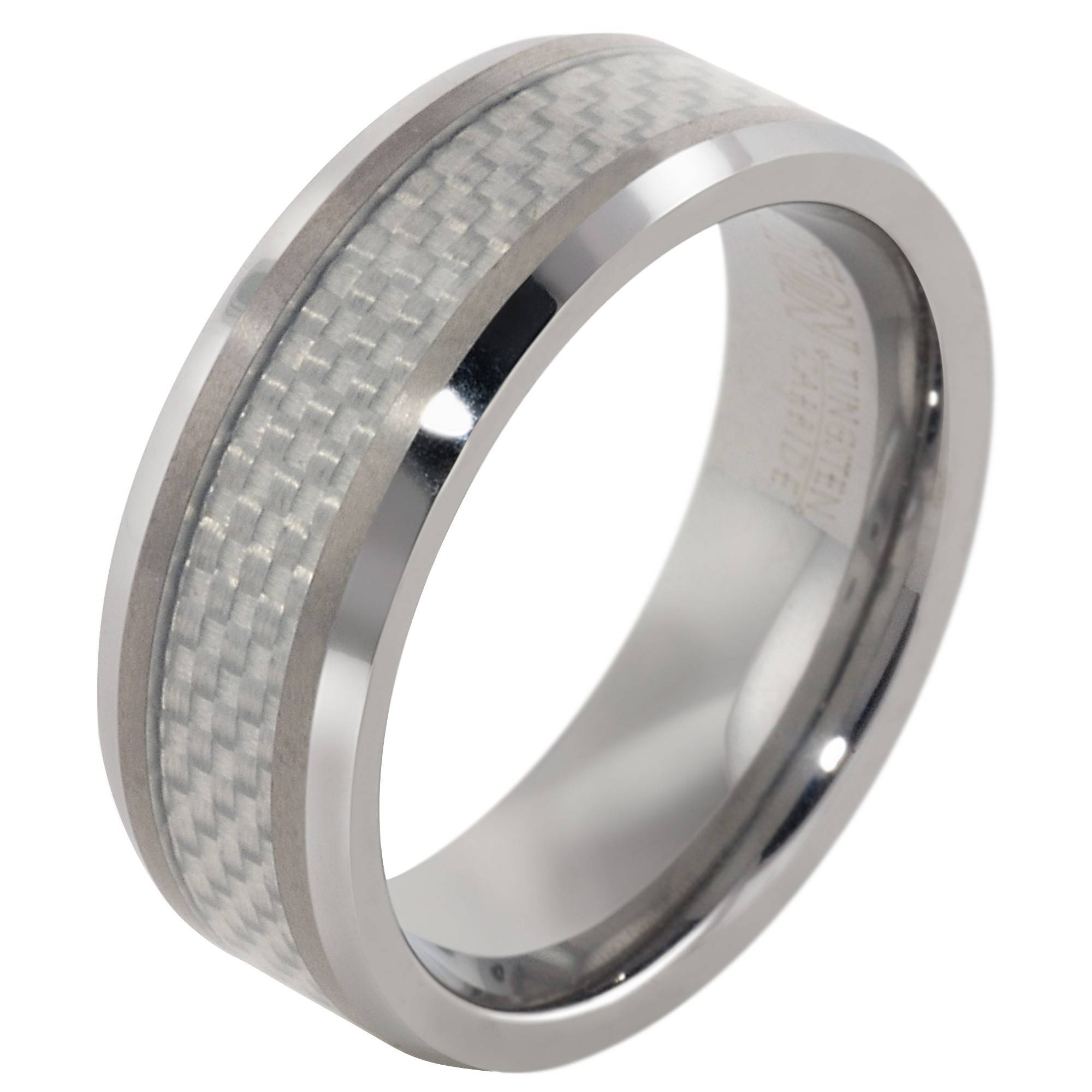 Mens Carbon Fiber Wedding Band In Tungsten (8Mm) Inside Mens Carbon Fiber Wedding Rings (View 8 of 15)