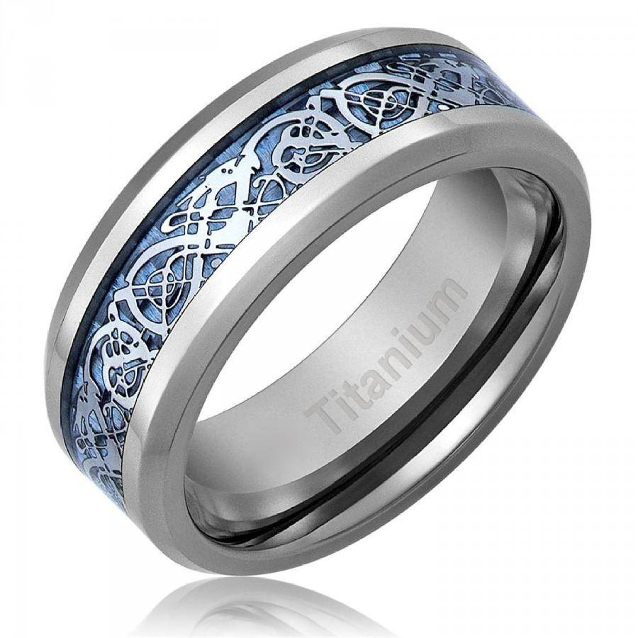Men's Celtic Dragon Titanium Wedding Ring Engagement Band Blue 8 With Regard To Celtic Engagement Rings For Men (View 9 of 15)