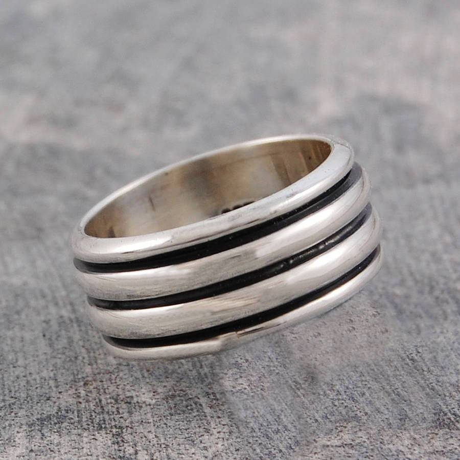 Men's Chunky Sterling Silver Spinning Ringotis Jaxon Silver With Regard To Men's Spinner Wedding Bands (View 12 of 15)