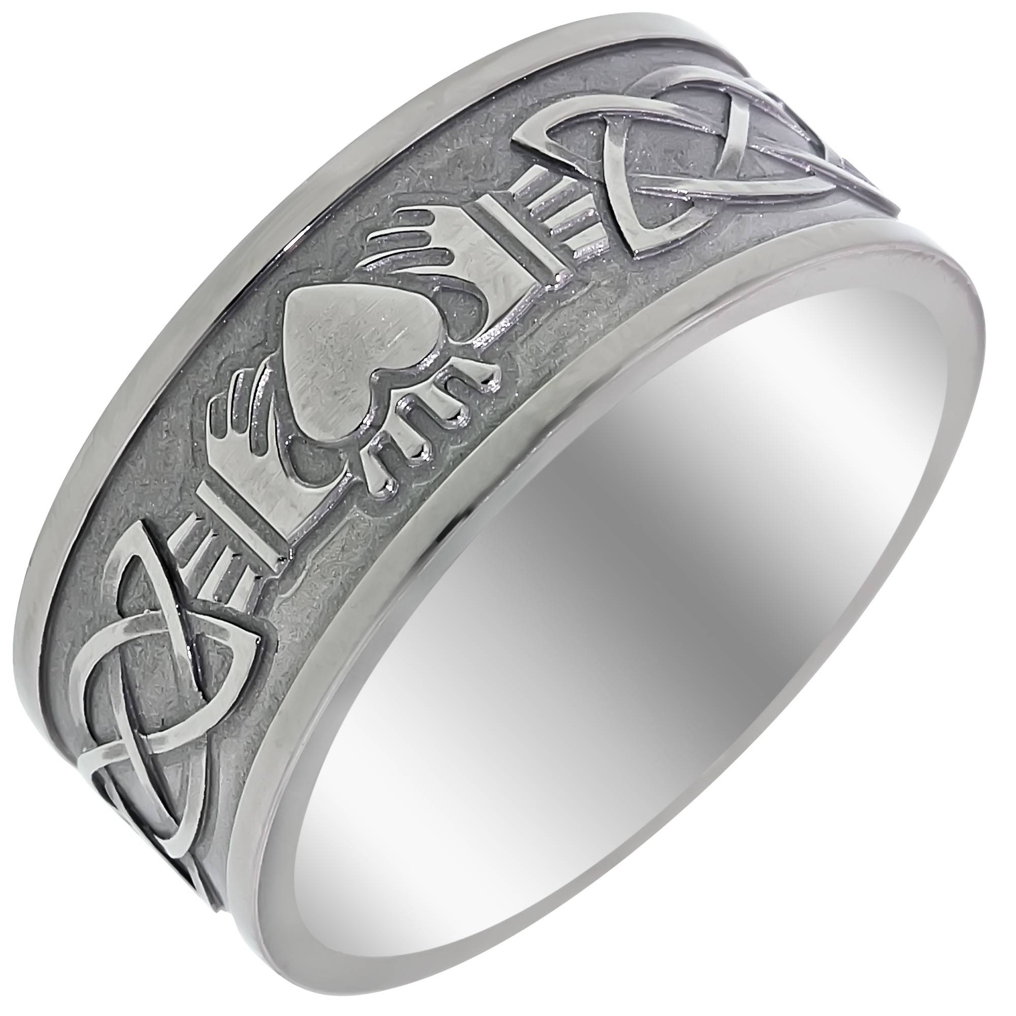 Mens Claddagh Celtic Wedding Band In Titanium (9mm) Within Men's Claddagh Wedding Bands (View 1 of 10)