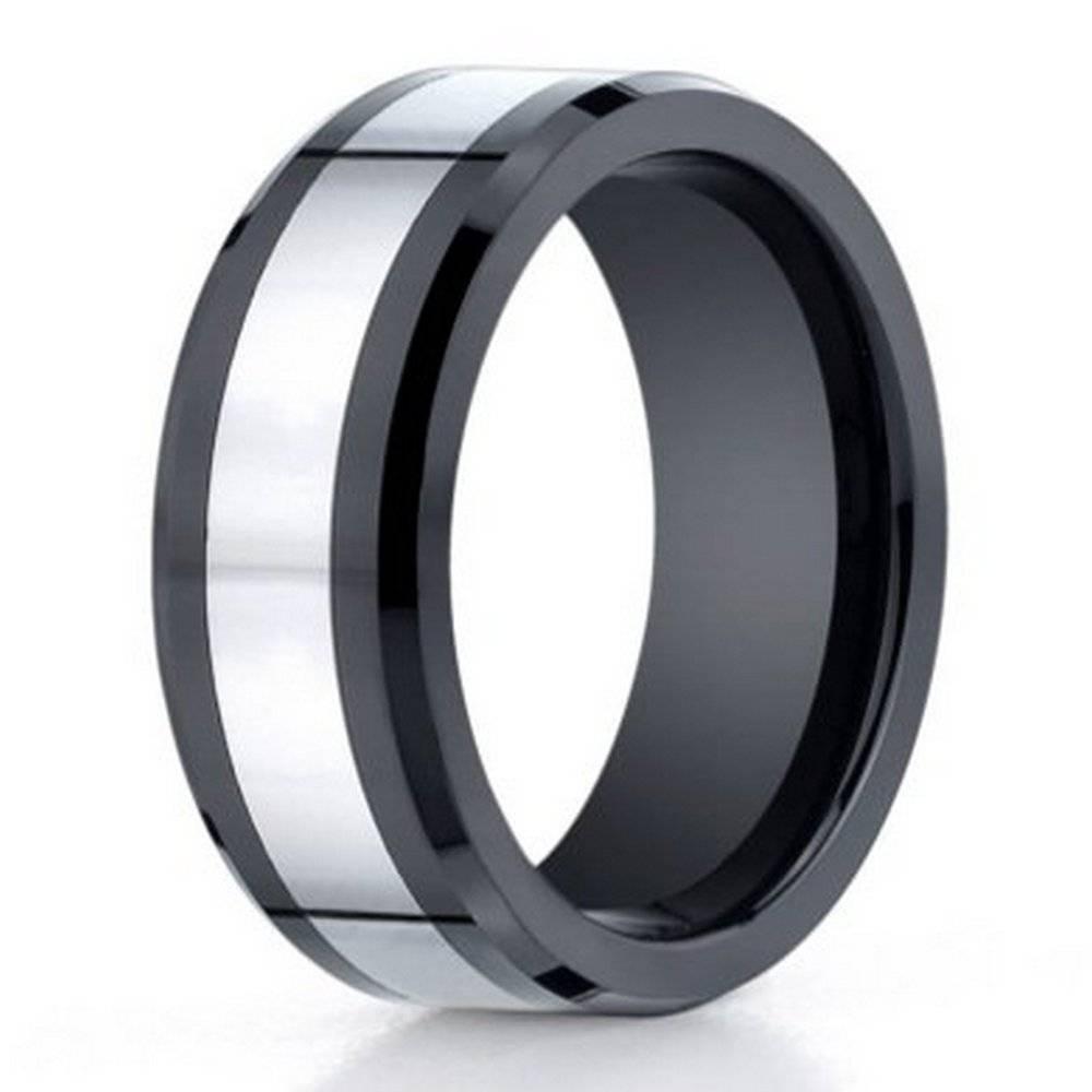 Men's Cobalt Chrome Ceramic Wedding Ring: Black Promise Band For Him Within Cobalt Mens Wedding Rings (View 11 of 15)