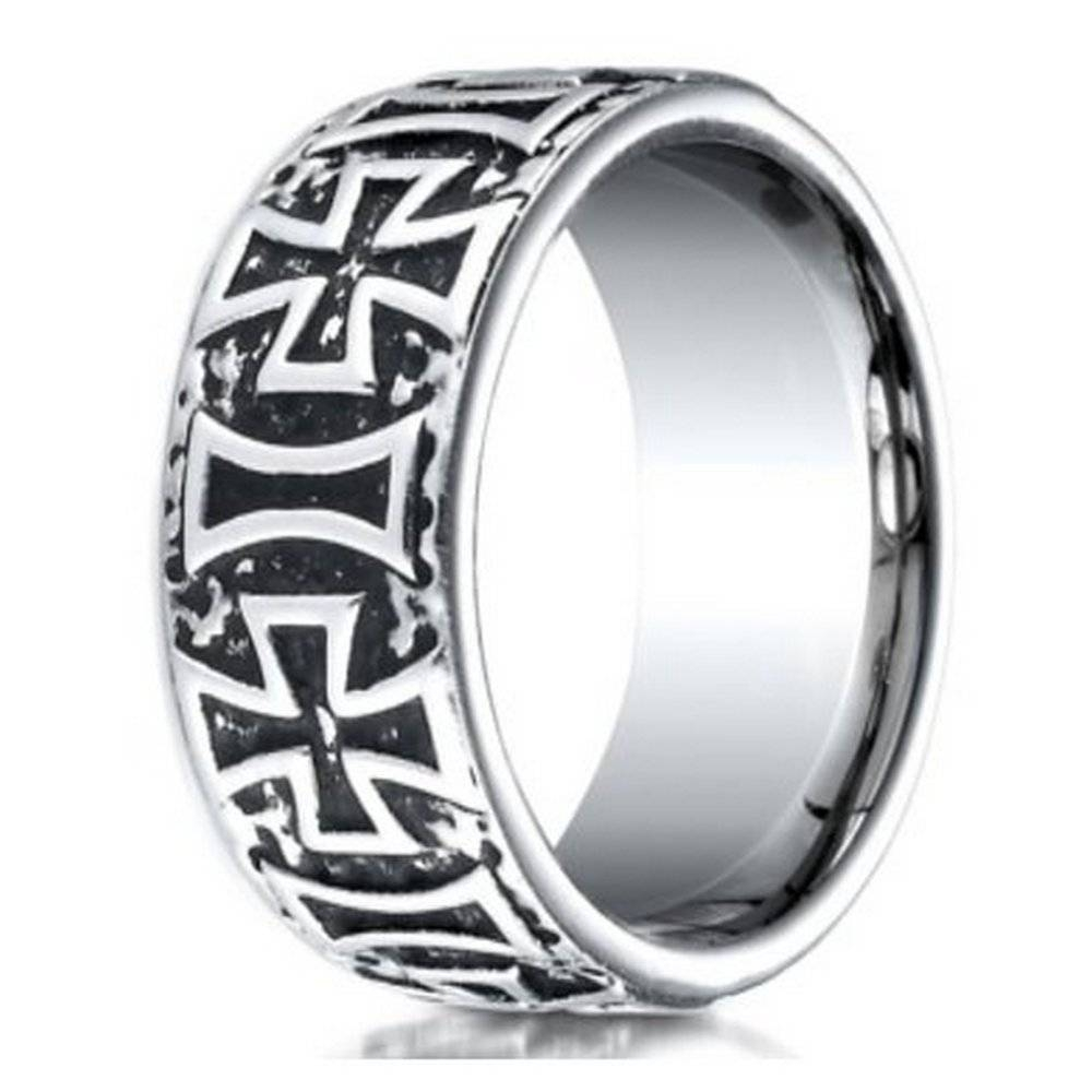 Men's Cobalt Chrome Ring W/ Maltese Crosses | Justmensrings Pertaining To Cobalt Wedding Rings (View 13 of 15)
