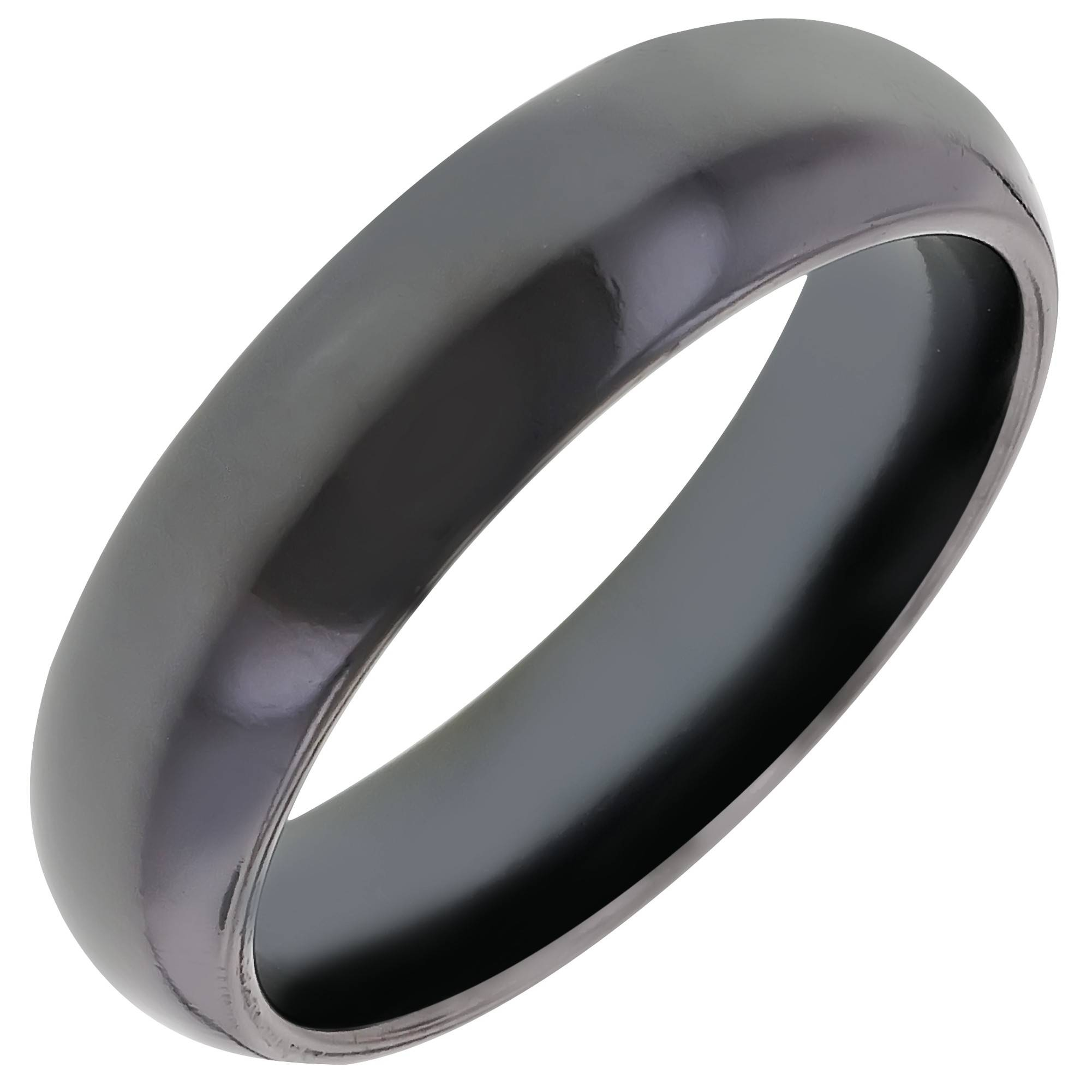 Mens Comfort Fit Wedding Band In Black Titanium (6Mm) Intended For Titanium Wedding Bands (View 5 of 15)