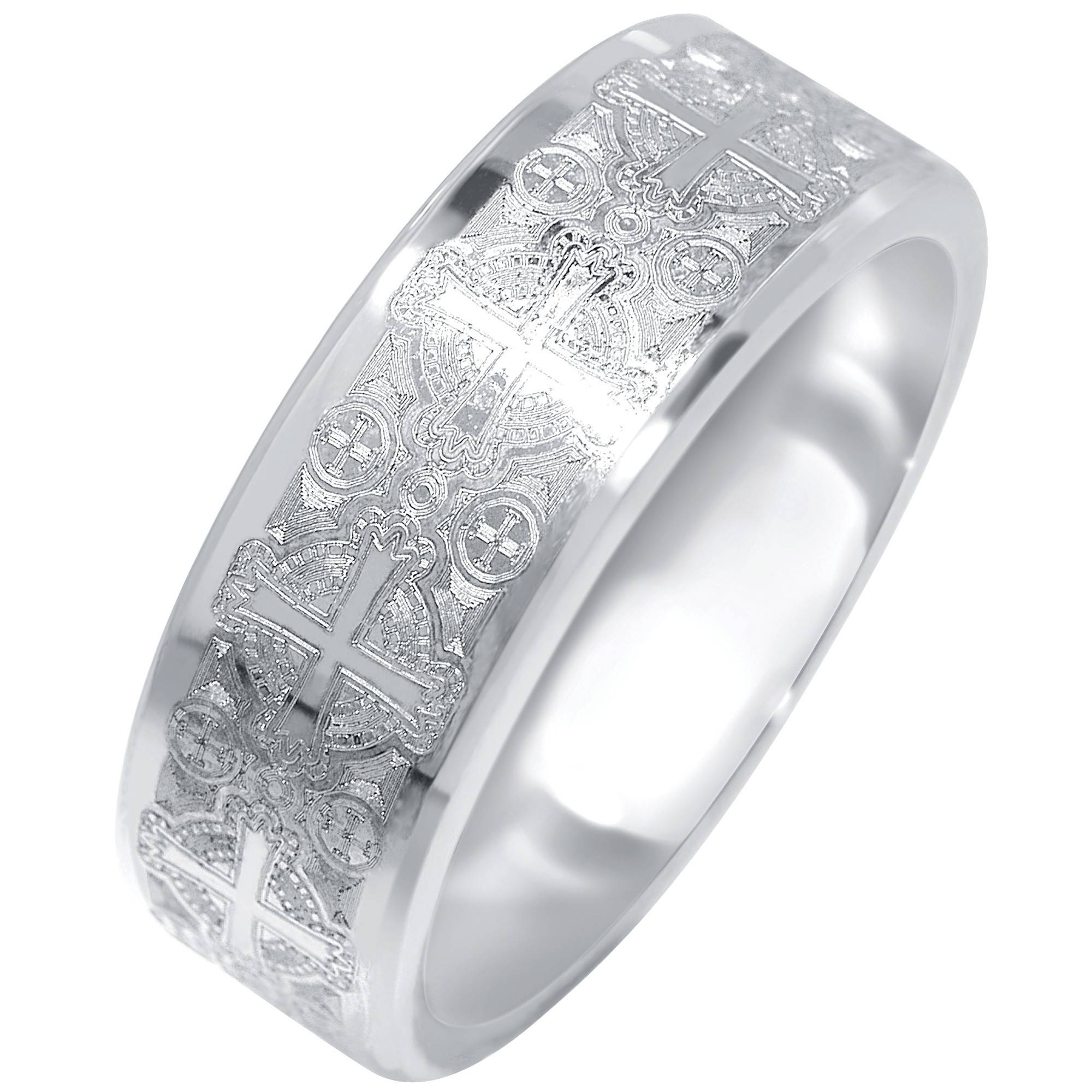Mens Cross Design Wedding Band In Tungsten (8mm) Inside Men's Wedding Bands With Crosses (View 4 of 15)