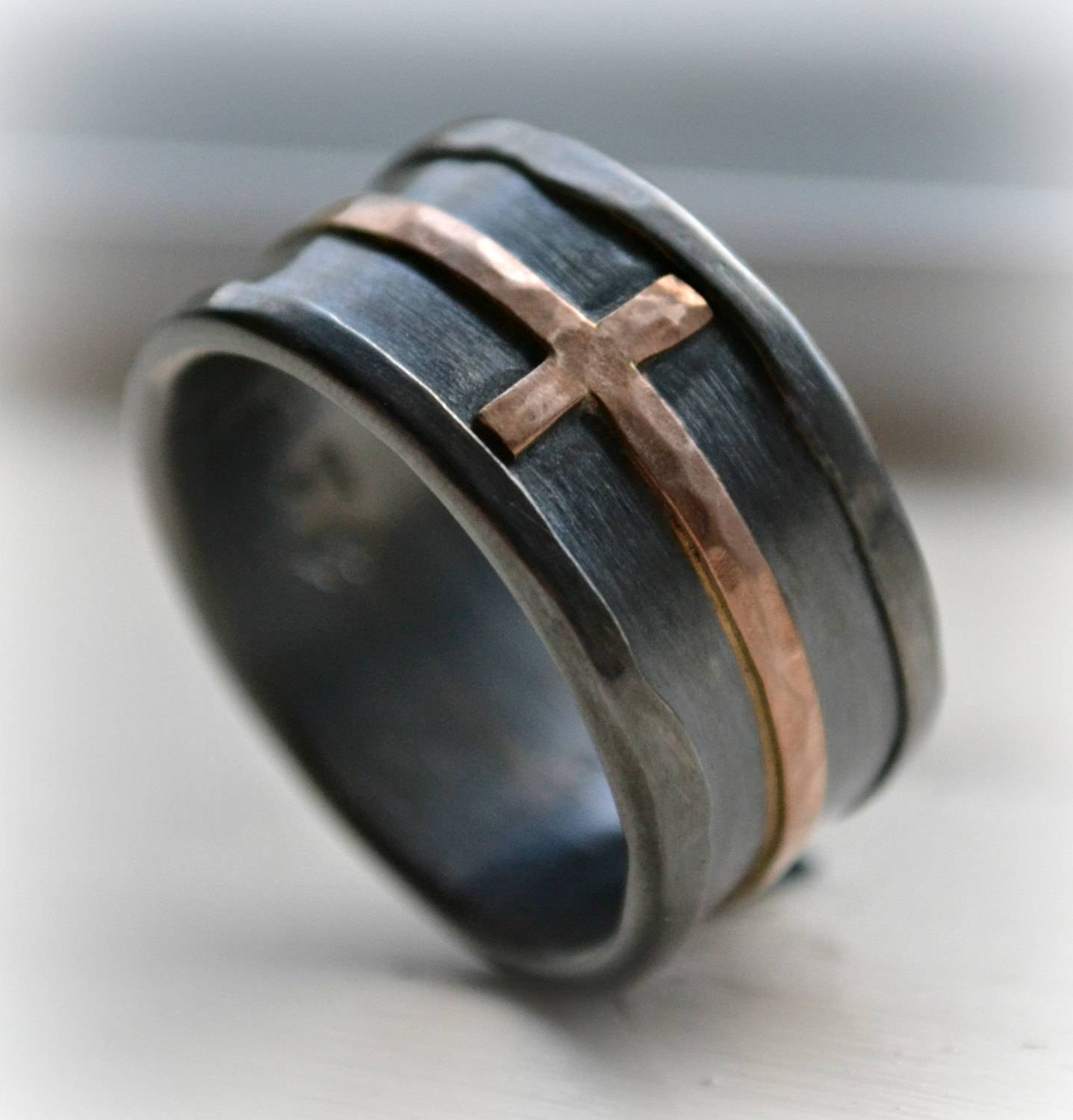 Mens Cross Wedding Band Rustic Hammered Cross Ring Oxidized Within Men's Wedding Bands With Crosses (View 7 of 15)