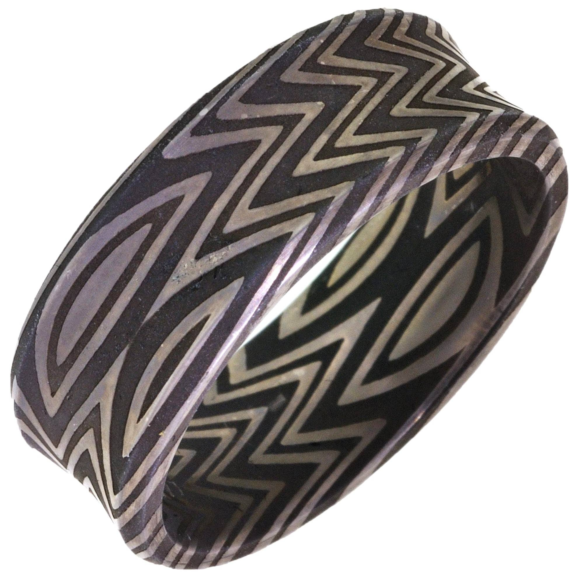 Mens Damascus Steel Zebra Wedding Band (8Mm) Regarding Damascus Steel Men's Wedding Bands (View 11 of 15)