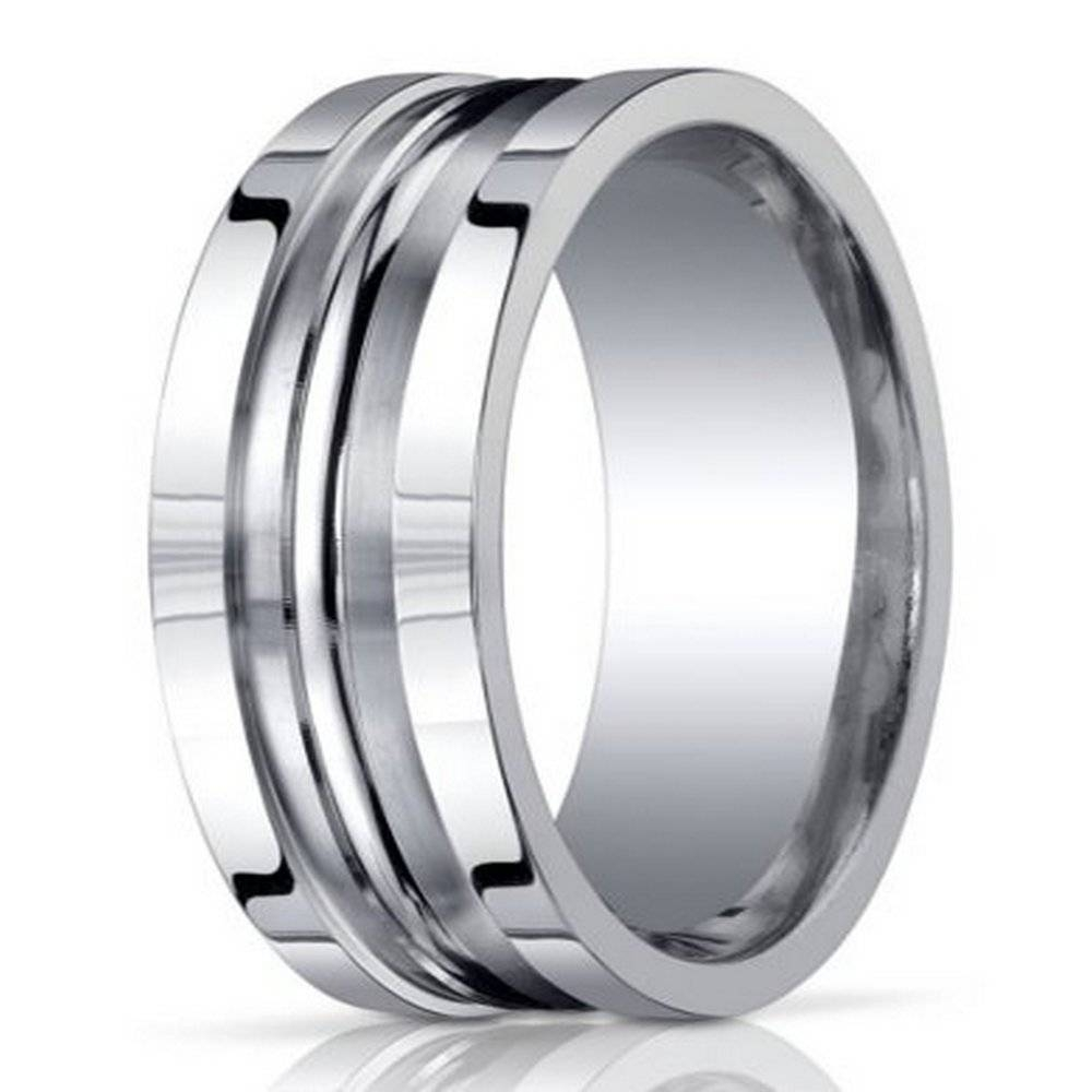 Men's Designer Argentium Silver Ring In Satin Finish| 10Mm With Black And Silver Mens Wedding Rings (View 8 of 15)