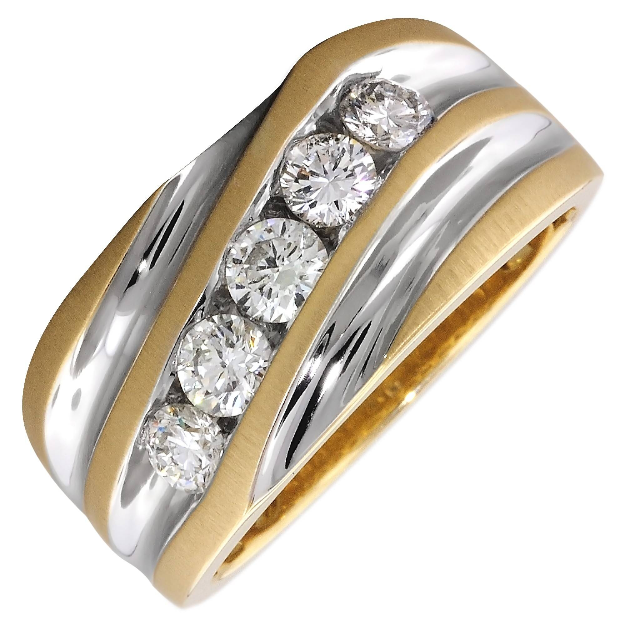 Mens Diamond Ring In 14Kt Yellow And White Gold (1Ct Tw) For White Gold And Yellow Gold Wedding Rings (Gallery 15 of 15)