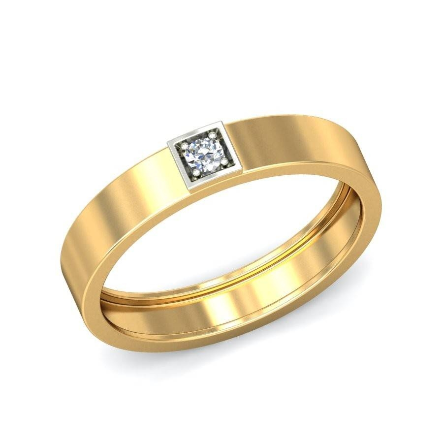 Mens Diamond Solitaire Wedding Band In Yellow Gold – Jeenjewels Regarding Yellow Gold Mens Wedding Rings (View 12 of 15)