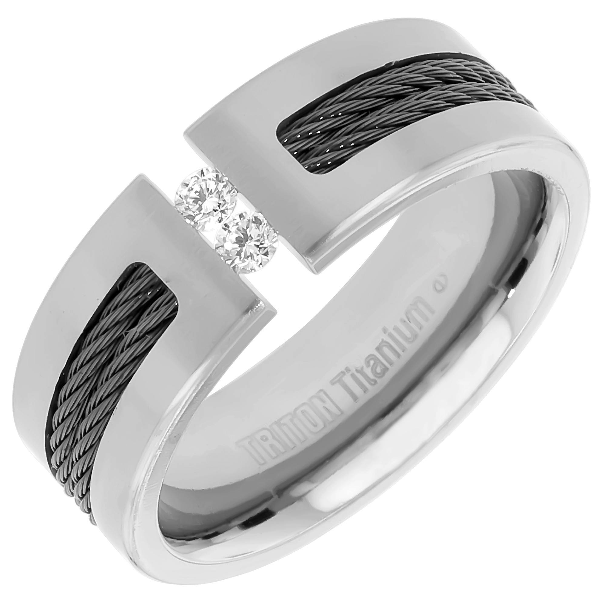 Mens Diamond Wedding Band In Titanium (8Mm) Regarding Men's Black Wedding Bands With Diamonds (View 4 of 15)