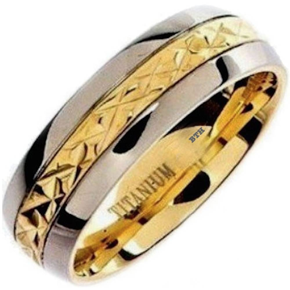 Mens Gold Ip Titanium Wedding Engagement Comfort Band Ring For Titanium Lord Of The Rings Wedding Bands (View 9 of 21)