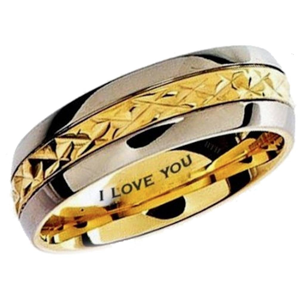 Mens Gold Ip Titanium Wedding Engagement Comfort Band Ring Pertaining To Unisex Engagement Rings (View 11 of 15)