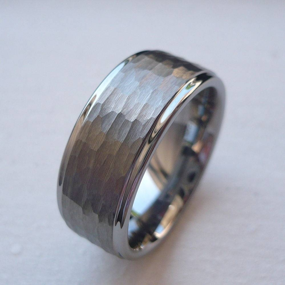 Mens Hammered Wedding Band | Ebay Regarding Tungsten Hammered Wedding Bands (View 7 of 15)