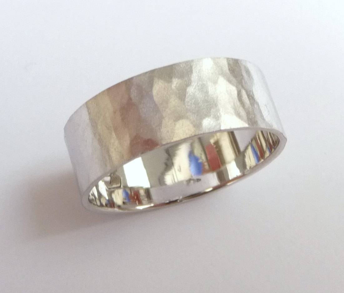 Men's Hammered Wedding Band Women And Mens Wedding Ring Within Wide Women's Wedding Bands (View 8 of 15)