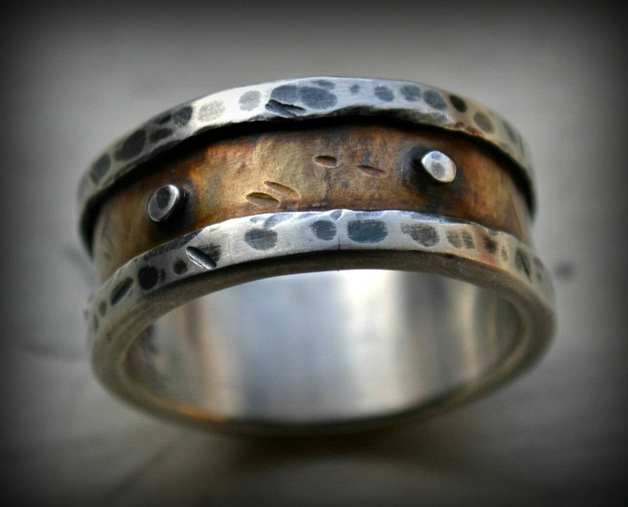 Mens Industrial Wedding Ring Rustic Fine Silver And Brass With Regard To Mens Western Wedding Bands (Gallery 8 of 15)
