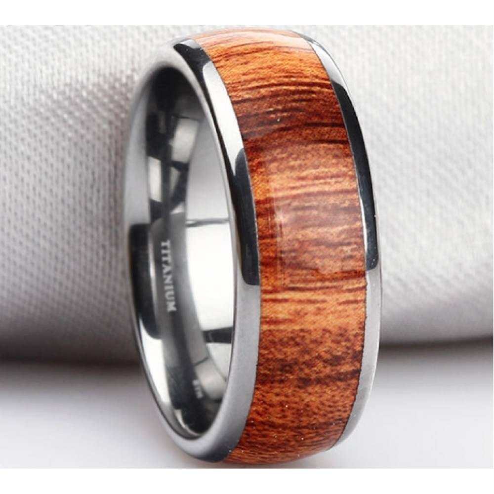 Mens Koa Wood Inlay Titanium Ring 8mm Regarding Men's Wedding Bands Wood Inlay (View 7 of 15)