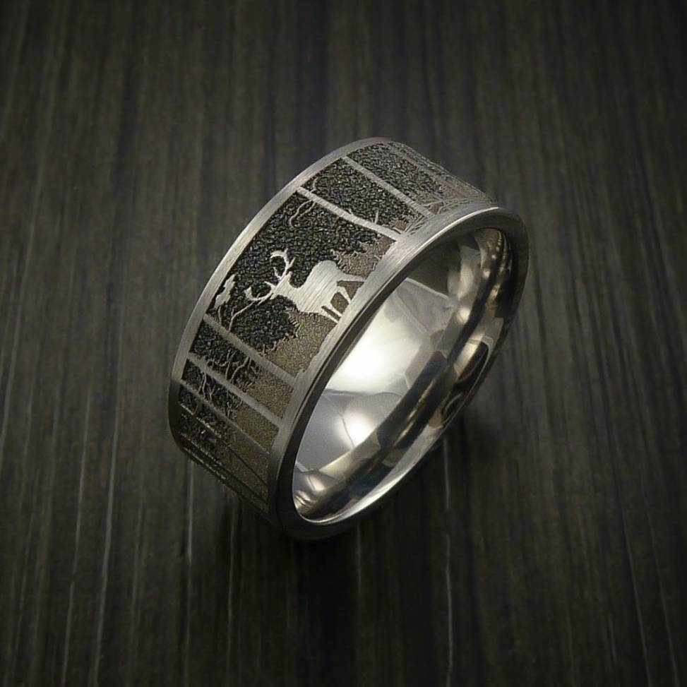 Men's Laser Carved Titanium Ultimate Deer Hunting Ring | Deer In In Outdoorsman Wedding Bands (Gallery 12 of 15)