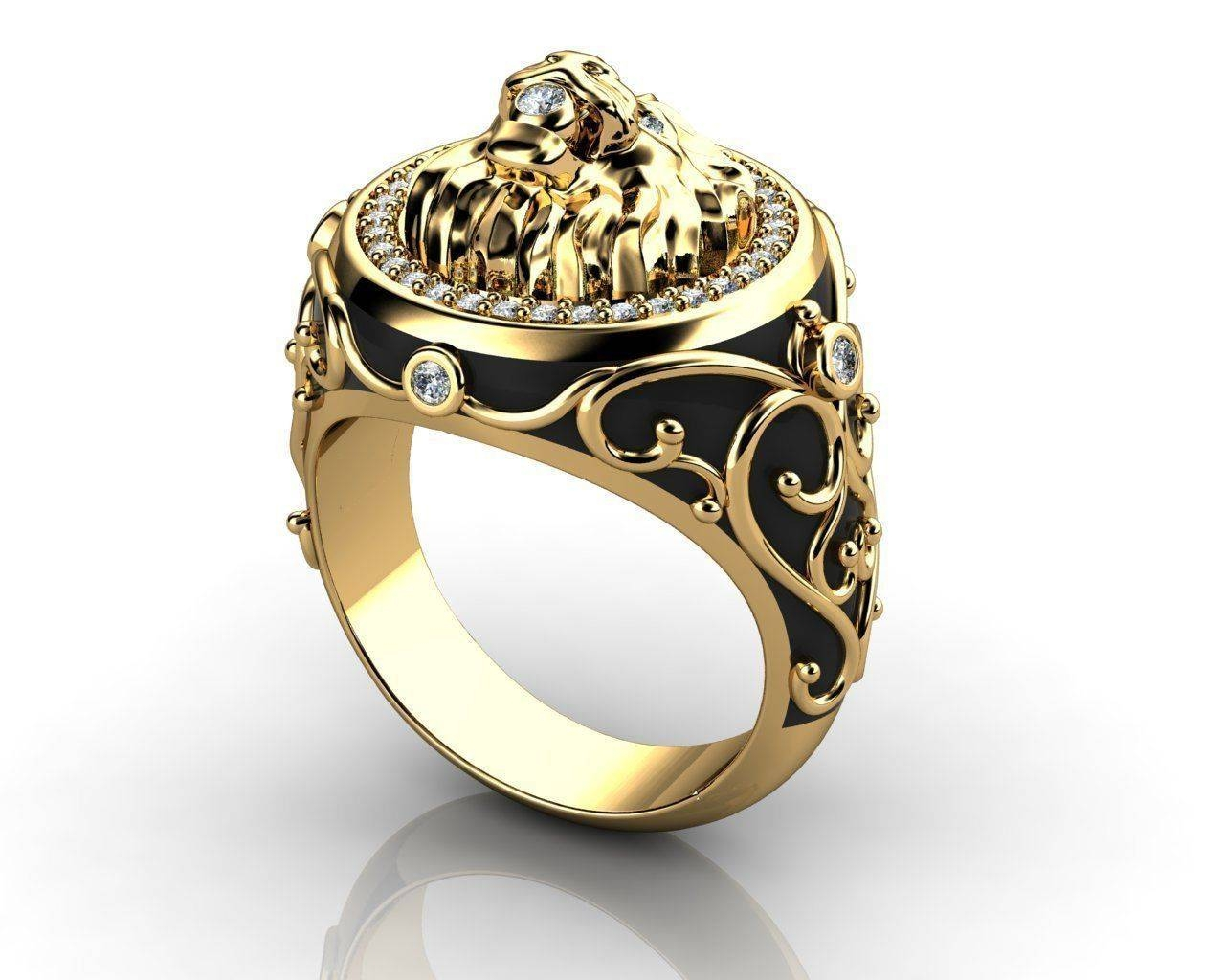 Mens Lion Diamond Ring 3D Print Model | Cgtrader Within Lion Engagement Rings (View 10 of 15)