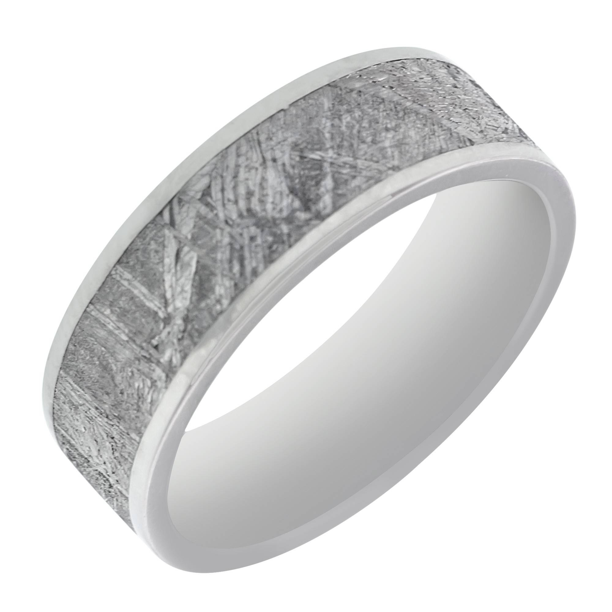 Mens Meteorite Wedding Band In Titanium (7mm) Intended For Men's Wedding Bands Meteorite (View 6 of 15)