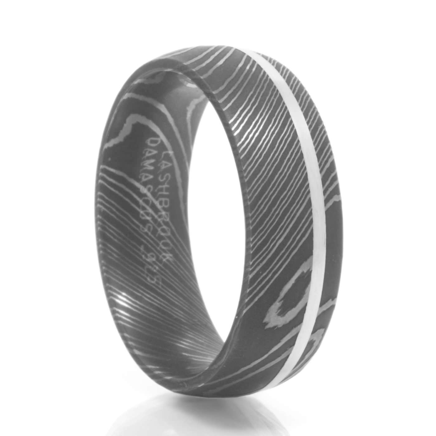 Men's Nimbus Damascus Steel & Sterling Silver Ring In Damascus Steel Men's Wedding Bands (View 9 of 15)